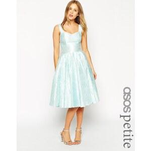 ASOS PETITE - SALON - Elegantes Kleid mit Jacquard-Blumen und Herzausschnitt - Grün