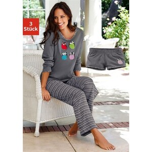 Vivance Collection Pyjamaset (3 tlg.) im Streifelook mit Eulenprint grau 32/34,36/38,40/42,44/46,48/50,52/54,56/58