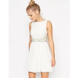 ASOS 3D Embellished Waist Pleated Skirt Mini Dress - White
