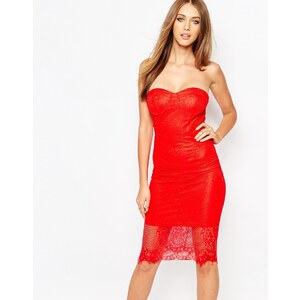 Missguided - Bandeaukleid aus Spitze - Rot