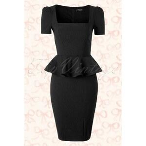 Vintage Chic 50s Clarissa Peplum Dress in Black