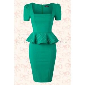 Vintage Chic 50s Clarissa Peplum Dress in Emerald Green
