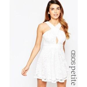 ASOS PETITE - Skaterkleid aus Spitze mit überkreuzter Vorderseite - Weiß