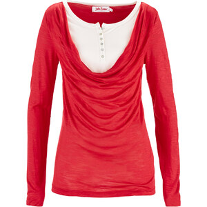 John Baner JEANSWEAR T-shirt style double épaisseur rouge manches longues femme - bonprix