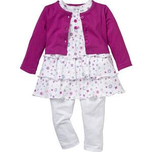 bpc bonprix collection Boléro bébé + robe + legging (Ens. 3 pces.) en coton bio violet manches longues enfant - bonprix