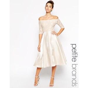 True Decadence Petite - Midi-Spitzenballkleid im Bardot-Stil - Rosa