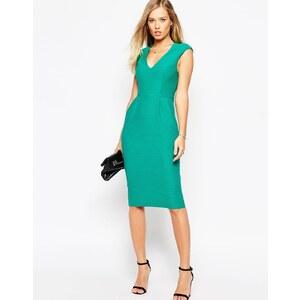 ASOS - Wiggle - Texturiertes Jersey-Kleid mit V-Ausschnitt - Rosa