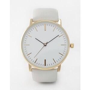 ASOS - Premium - Schlichte Uhr mit Lederarmband - Grau