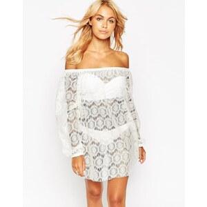 ASOS - Schulterfreies Strandkleid aus Spitze - Weiß