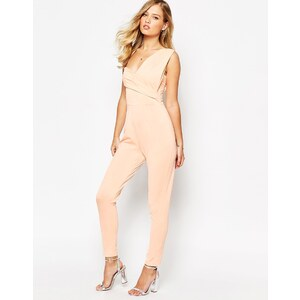 ASOS - Drapierter One Shoulder-Overall - Nude
