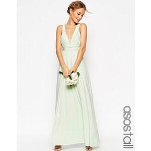 ASOS TALL WEDDING - Maxi robe froncée à bretelles doubles - Vert