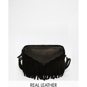 ASOS - Sac bandoulière style western en cuir et daim avec franges - Noir
