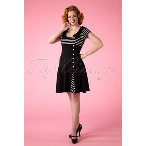 Vixen 60s Oh So Striped A line dress in Black and White