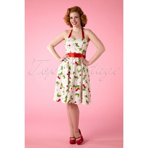 Hearts & Roses 50s Cream Cherry Blossom swing halter dress