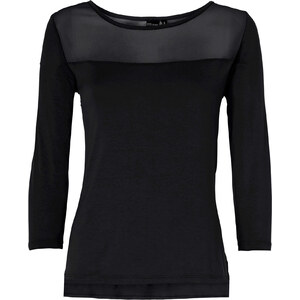 BODYFLIRT Shirt mit Mesh-Einsatz 3/4 Arm in schwarz für Damen von bonprix