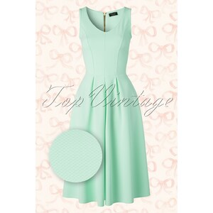 Vintage Chic 50s Malibu Fit and Flare Dress in Mint