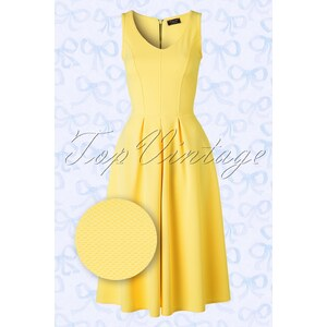 Vintage Chic 50s Malibu Fit and Flare Dress in Yellow
