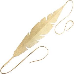 Naminoe Quetzalcoatl - Headband plume ethnique en cuir - or