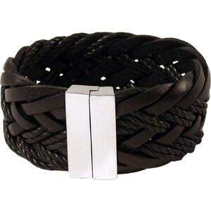 Coté mecs Gladiateur - Bracelet en cuir tressé et fermoir en argent - marron