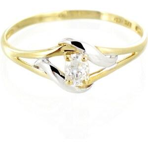 Tous mes bijoux Solitaire en or jaune et or blanc avec oxyde de zirconuum - jaune