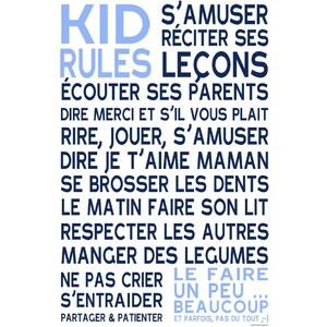 Mes mots déco Kid Rules - Sticker en papier - bleu
