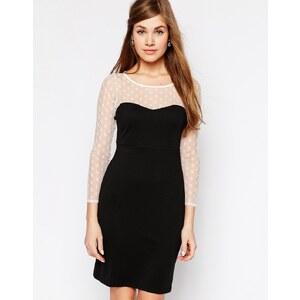 True Decadence - Kleid mit gepunkteten Ärmeln - Schwarzweiß