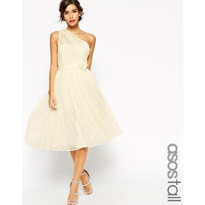 ASOS TALL WEDDING - Robe asymétrique en tulle avec fleur apposée - Blanc