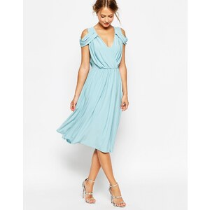 ASOS WEDDING - Robe mi-longue drapée à épaules découvertes - Bleu