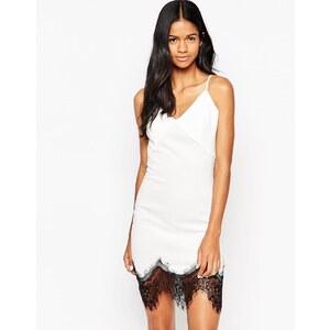 Club L - Camisole-Kleid aus Neopren mit Sitzenborte - Crème