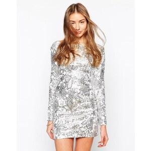 Club L - Figurbetontes Kleid mit Blumenmuster und Pailletten - Weißer Untergrund/Silber
