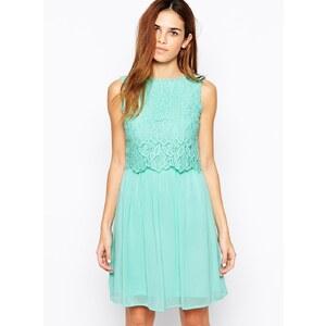 Club L - Kleid mit Spitzenoberlage - Minzgrün