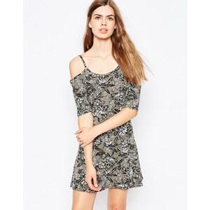 Daisy Street - Schulterfreies Kleid mit Blumenmuster - Khaki