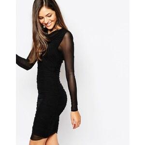 Y.A.S - Figurbetontes Kleid aus Netzstoff mit transparenten langen Ärmeln - Schwarz