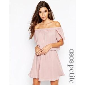 ASOS PETITE - Schulterfreies Kleid mit kurzen Ärmeln - Nude