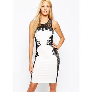 Lipsy - Enges Kleid mit kontrastierendem Cornelli-Spitzenbesatz - Weiß