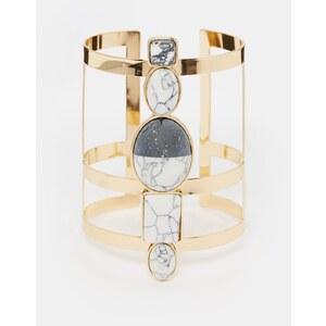 ASOS - Armband mit schwarz-weißem Schmuckstein - Gold