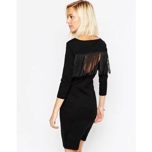 Vero Moda - Enges Kleid mit Fransen-Rückseite - Schwarz