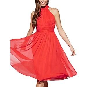 APART Fashion Damen Neckholder Kleid Chiffonkleid, Knielang