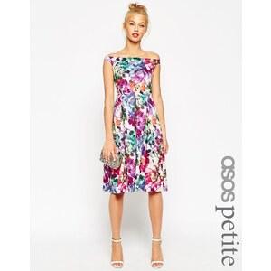 ASOS PETITE - Knielanges Ballkleid mit hübschem Blumenmuster - Mehrfarbig