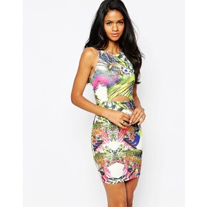 AX Paris - Kleid mit tropischem Muster und Zierausschnitt vorne - Mehrfarbig