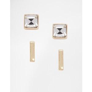 Warehouse - Ohrringe mit Steg und Glitzerdesign - Gold