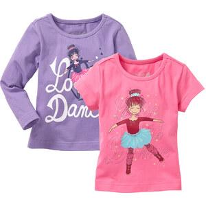 bpc bonprix collection T-shirt manches longues + T-shirt (Ens. 2 pces.), T. 80/86-128/134 rose enfant - bonprix