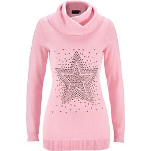 bpc selection Rollkragenpullover mit Stern-Schmucksteinapplikation in rosa für Damen von bonprix