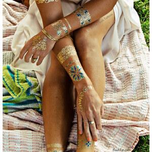 Flash Tattoos Tatouages éphémères Aux Dessins Floraux Dorés Et Bleus Isabella