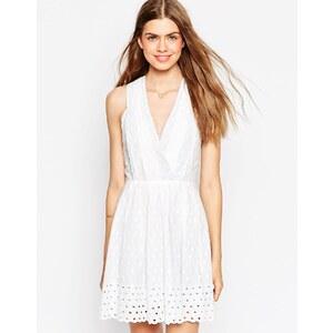 Greylin - Shandi - Skaterkleid mit Ösenverzierter Borte - Weiß