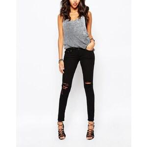 Liquor & Poker - Jean skinny taille basse avec déchirures aux genoux et effet vieilli - Noir