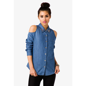 FOREVER21 Schulterfreies Chambray-Shirt