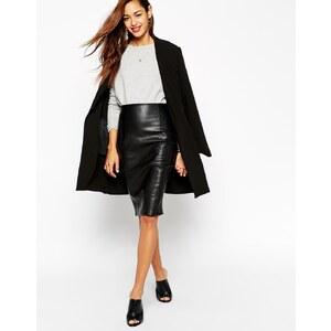 ASOS - Jupe fourreau en similicuir avec coutures apparentes - Noir