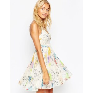 ASOS - Mini robe caraco plissée transparente et opaque à imprimé tropical - Multi