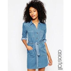 ASOS TALL - Hemdkleid mit Gürtel - Blau